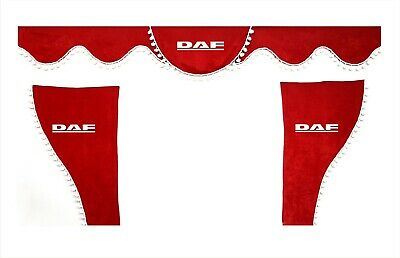 Set Of 3 pcs. Red Curtains With White Pom Poms And Logo For DAF XF CF LF