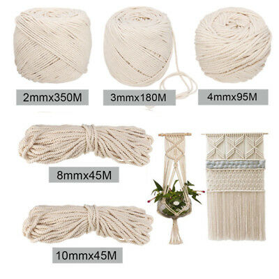 2/3/4/5/6/8/10mm Macrame Craft Rope Natural DIY Cotton Twisted Cord Handicraft