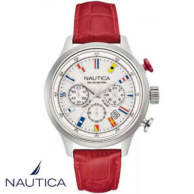 Nautica NAI16519G NCT 16 Flags Chronograph silver red Leather Men's Watch NEW