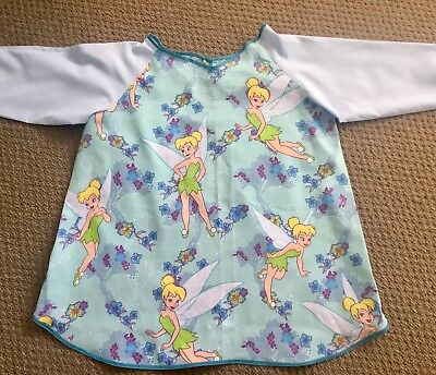 GORGEOUS TINKERBELL ART SMOCK AQUA BLUE AGE 4-7 Perfect For School Or Home