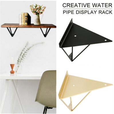 2Pcs Durable Hairpin Industrial Wall Shelf Support Brackets Metal Prism Mount
