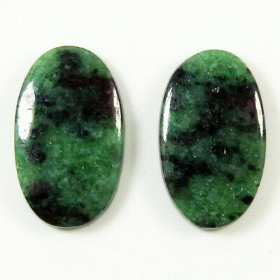 23.90 Cts Natural Ruby Zoisite Oval Shape Matching Pair Loose Gemstone Cabochon