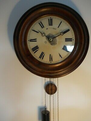 ANTIQUE 19th CENTURY WAG ON THE WALL POSTMANS CLOCK TWIN WEIGHT BELL STRIKE