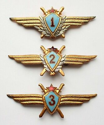 Soviet Russian Army Specialist 1 2 3 Officer Pilot Class Badge Air Force USSR