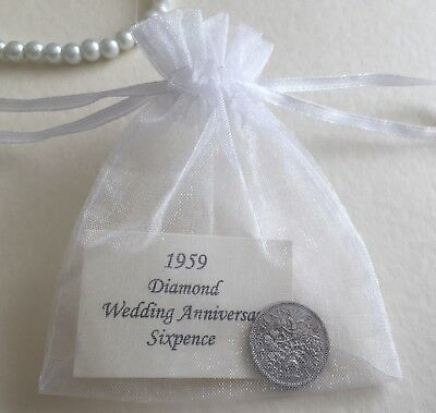 1959 Sixpence in Organza Bag - Diamond (60th) Wedding Anniversary Year Gift/Card