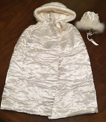 Antique Victorian Satin Baptism Christening Cape And Bonnet Exceptional Find