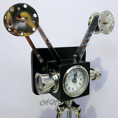 Vintage Style Projector Camera With Clock Wooden Tripod Collectible Item Antique