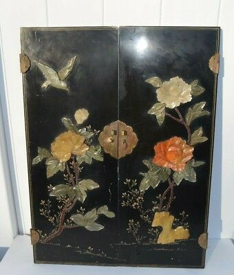 2 Antique Chinese Soap Stone Inlay Cabinet Doors Depicting Bird, Flowers, Rock
