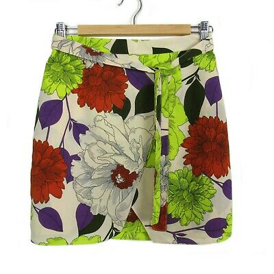 RIVER ISLAND Beige Neon Floral Peony Print Spring Party Belted Mini Skirt UK 10