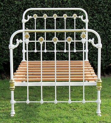 """Pretty Antique Brass and Iron Large Single ( 3ft 6"""" wide )  Bed with Pine Base"""