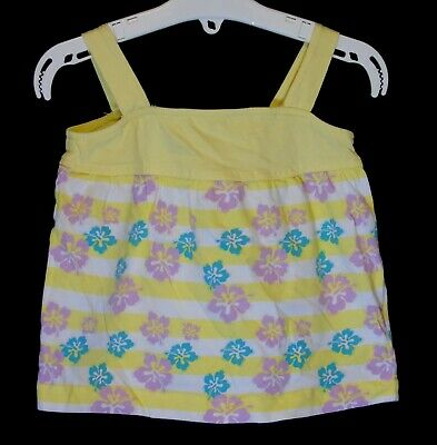 Baby Girls F&F Yellow Tropical Floral Stripe Sleeveless Top Age 12-18 Months