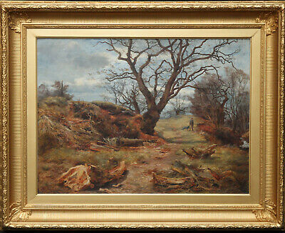 James Faed Jnr Scottish Art 19Thc Landscape Oil Painting Cadzow Forest Hamilton