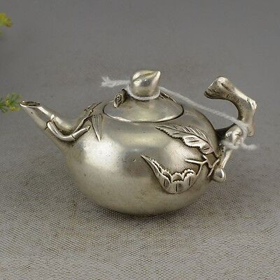 Chinese Decorative Miao Silver Handwork Carved Technology Unique Peach Teapot