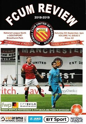 FC United of Manchester v Southport 2018/19 brand new football programme