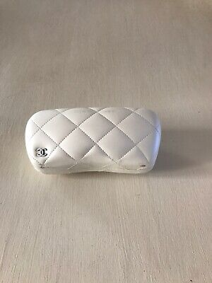 Chanel Ivory Pearlescent Quilted Glasses / Sunglasses Case
