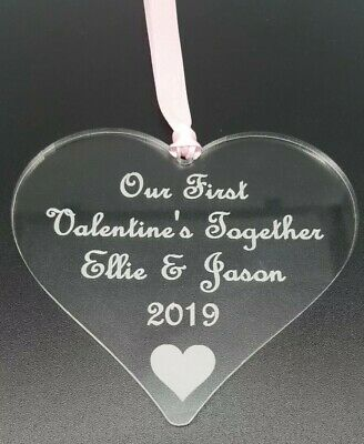 PERSONALISED FIRST VALENTINES GIFT KEEPSAKE PLAQUE HEART MIRROR SILVER SIGN