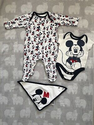 Mickey Mouse Outfit Set 0-1 Month From Mothercare Bundled With Winnie Set 6-9m