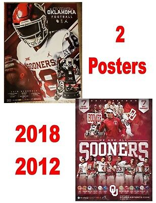 Two Posters 2017 2018 Oklahoma Sooners Schedule Football Posters