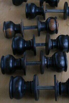 x1 Pair Antique Victorian Door Knobs Solid Wood Vintage Reclaimed & Restored