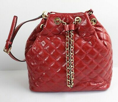 bfbee1f85b95 NWT MICHAEL KORS Frankie Quilted Large Drawstring Convertible Bag Dark Red  Gold