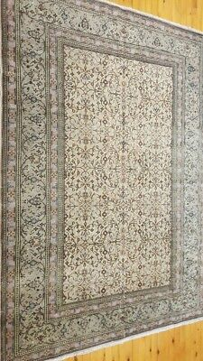 Rare Antique 1900-1930s Muted Dyes 5×7ft Wool Pile Hereke Rug