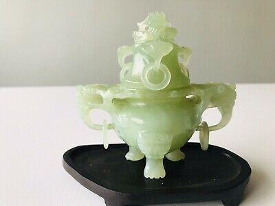 Chinese Antique jade incense burner with wood stand.