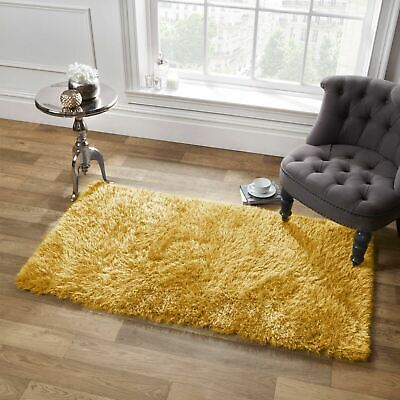 Sienna Shaggy Floor Rug Large Soft Sparkle Thick 5cm Pile Ochre Yellow Mustard