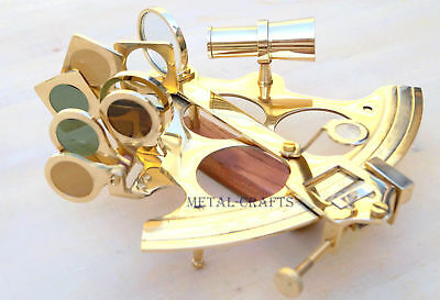 """Brass Sextant Ship GPS Astrolabe Educational Working Sextant 6"""" inch"""