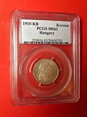 1915-KB Hungary Silver Korona Coin PCGS MS 62
