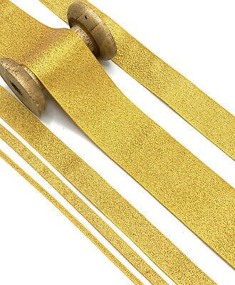 Gold Metallic Lame Ribbon Antique Dark Christmas Wedding Sparkle Glitter Bow