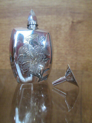 Sterling Silver Perfume Bottle, 1950s Japanese Carved Silver Tiger Lily Flask
