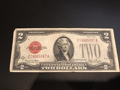 1928G $2 Two Dollar Bill United States Legal Tender Red Seal