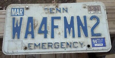 Tennessee License Plate Emergency Tag WA4FMN2 Radio Call Handle Sign