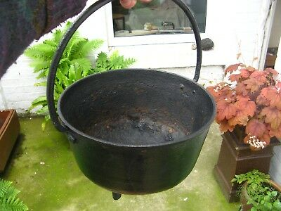 Antique Vintage Cast Iron Cauldron Garden Planter Kitchen