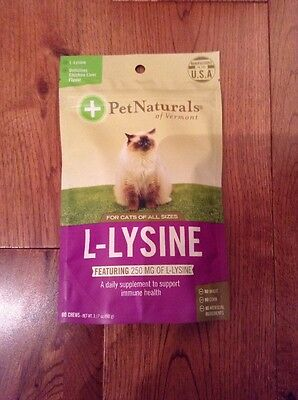 Pet Naturals of Vermont L-Lysine TREATS Cats 60 Chews Cat Pets Great For Persian