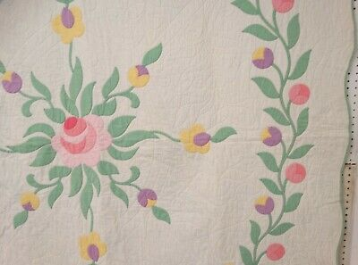 "Lovely 1930's Floral Rose Applique QUILT Handmade Maine Estate 84"" x 75"""