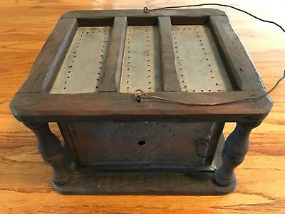 ANTIQUE Foot Warmer HEART DECORATED Tin and Oak wood.