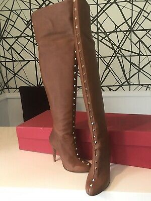 f4a3ac4f314 VALENTINO ROCKSTUD OVER-THE-KNEE Brown Boot. Size 9.5. Never been ...