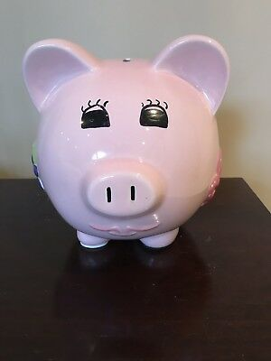 "Large Pink Floral Piggy Bank 7.5"" Tall Ceramic Excellent Condition"