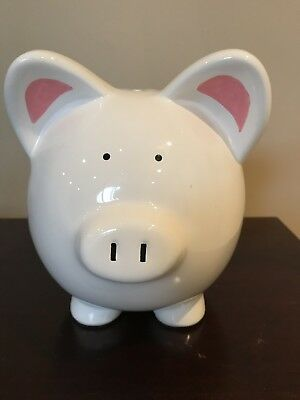 "Large White Floral Piggy Bank 7.0"" Tall Ceramic in Excellent Condition"