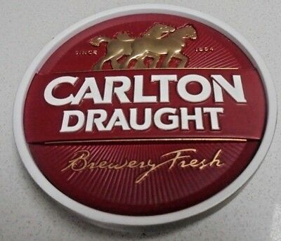 CARLTON DRAUGHT Beer Tap Badge - with Backing Screw - Round Badge CUB Badge