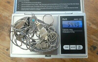 Sterling Silver Scrap 925 lot 54.49 grams with some stones Mexico Isreal Real