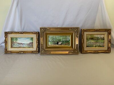 Lot Of 3 Framed Enamel Hand Paintings On Copper w/ COA's (Richard, Stone, Penny)