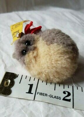 """Vintage 1,5"""" STEIFF Woolen Pom Pom Cat Gray and White with all IDs, 7295/04"""