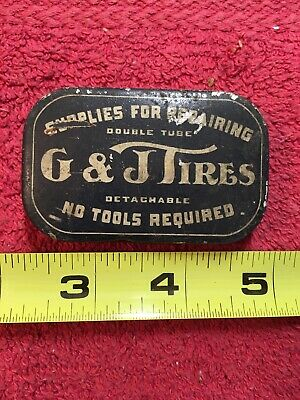 G&J Tires Tire Repair Patch Kit Advertising Tin Can Motorcycle Cycle Bike Sign