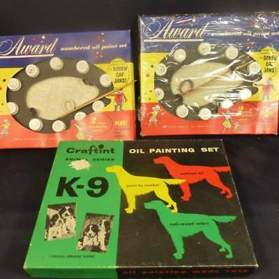 3 NOS Award & Craftint Paint by Number Sets Springer Puppies, Horses
