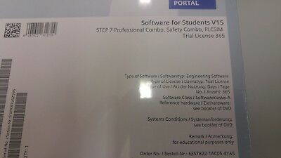 Siemens Software for 20 Students V15 Step7 Prof/Safe/PLCSIM/...Trial licence 365