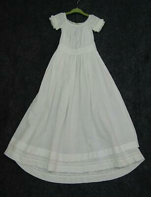 Vintage Antique Baby Long Gown Christening Ruched White Cotton Lace Dress Lot