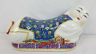 Vintage Chinese Hand Painted Porcelain Pillow