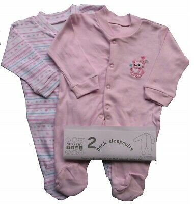 Baby Girl Sleepsuit Pink Babygrow 100/% Cotton Infant Romper Playsuit 2 Pack